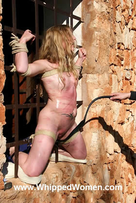 BOUND OPEN OUTDOOR FOR SERIOUS TIT- BELLY- AND PUSSY-WHIPPING